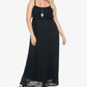 Torrid Size 1 Maxi Dress Black Floral Stretch Lace